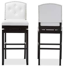 upholstered swivel bar stools. Ginaro Button-Tufted Upholstered Swivel Bar Stools, Set Of 2, White Faux Leather Stools
