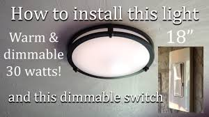 Flush Mount Kitchen Ceiling Light Replacing Old Kitchen Light With New Led Flush Mount Ceiling Light And Dimmer