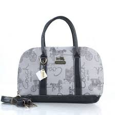 Coach Poppy Logo Style Medium Grey Satchels EUL