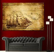 image is loading canvas home wall art print sail ship map  on boat wall art with canvas home wall art print sail ship map decor vintage boat picture