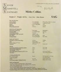 Misha Collins Resume Misha Collins acting resume misha Pinterest Misha collins and 1