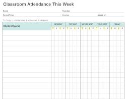 Sample School Register Template Period Printable Attendance Employee