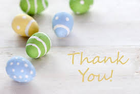 Thank You Easter Blue Green And Yellow Easter Eggs With English Text Thank