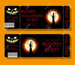 Set Of Happy Halloween Ticket Or Flyer On Holiday Party With