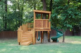 tree house plans. Comfortable Simple Tree House Plans For Kids With Unique Shape Green Slider And Wooden Fence Idea