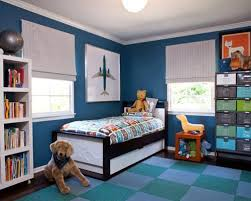 Inspiration for a transitional boy kids' room remodel in Los Angeles with  blue walls