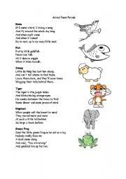 Small Picture worksheet Animal Poem Parade