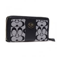 Coach Zippy In Signature Large Grey Wallets BLQ