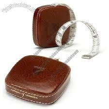 leather tape measure in antique brown italian calf
