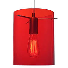 red track lighting. Bruck Lighting Systems London Matte Chrome One-Light Line Voltage Mini Pendant With Red Glass Track