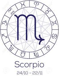 Zodiac Sign Scorpio Astrological Symbol In Wheel With Polygonal