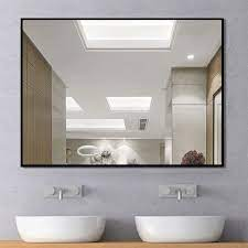 Modern Large Black Rectangle Wall Mirrors For Bathroom Vanity Mirror On Sale Overstock 30505348
