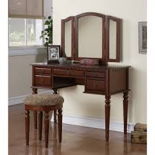 Stool For Bedroom Poundex 2 Piece Cherry Tri Mirror 5 Drawer Makeup Vanity Set With