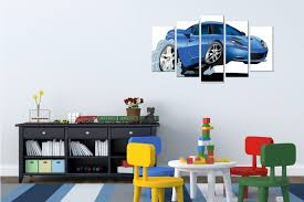 800x800 wall art decoration for kids room with blue car 800x533