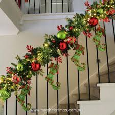 ... Full Image for Christmas Banister Decorations Staircase Garland It  Decoration With Staircase Garland Ideas Banister Banquette ...