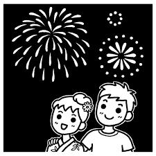 初デート白黒花火大会の無料イラスト夏の季節行事素材