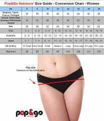 Pop Go Knickers Size Chart For Uk Usa Europe Japan