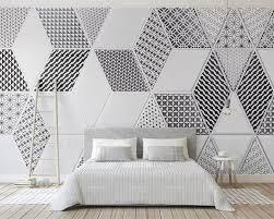 Us 907 46 Offbeibehang Aangepaste Behang 3d Foto Muurschildering Zwart En Wit Stijl Geometrische Patroon Ruit Nordic Achtergrond Muur Papier 3d