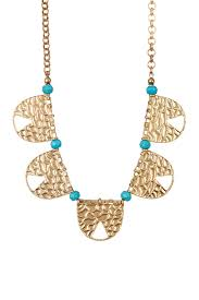image of melrose and market hammered metal pendant turquoise bead necklace