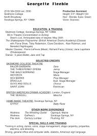 High School Theatre Resume Musical Resume Template High School
