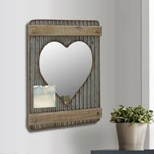 silver corrugated metal and wood heart shaped