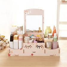 wood makeup storage