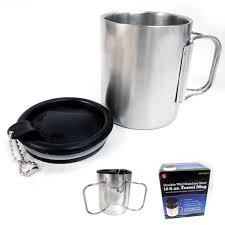 travel coffee mug stainless steel lid tea drink tea cup handle
