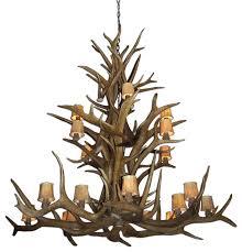elk cascade deer antler chandelier light extra large rawhide shades