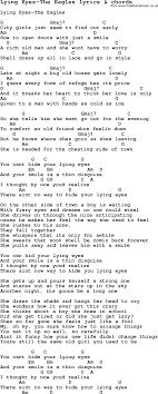Love Song Lyrics For Lying Eyes The Eagles With Chords For