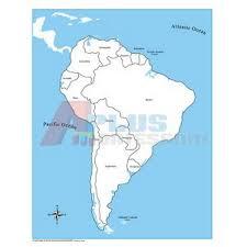 gЕ Контрольная контурная карта Южной Америки картонная  gЕ006 1 Контрольная контурная карта Южной Америки картонная подписанная на англ яз