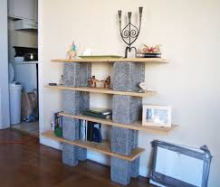 ... Hanging Shelves On Cinder Block Walls Unique Design Long Square Brown  Portable Rack Strong Wooden Material ...