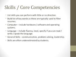list of core competencies for resumes resume key skills and competencies danaya us