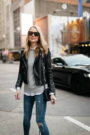 fall outfit winter outfit black leather jacket grey sweater white on