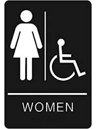 bathroom sign with arrow. Exellent Arrow Womenu0027s Braille Handicapped Restroom Sign  ADA Approved Bathroom With  Double Sided 3M Tape Throughout With Arrow C