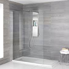 walk in shower with white rectangular shower tray and shower with integrated storage shelf