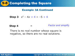 example 3a continued solve by pleting the square step 3 x2 4x