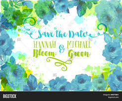 wedding invitation invitation, vector & photo bigstock Wedding Invitation Blue And Green wedding invitation invitation, background or postcard framed by blue roses, leaves and watercolor wedding invitation blue green motif