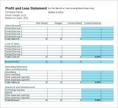 business profit and loss statement template - tesem