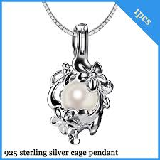 925 silver flower cage pendant with 6 7mm akoya pearl