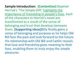 the essay students will understand how to unpack an essay  sample introduction contention stephen herrick s the simple gift highlights the importance