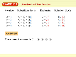 example 1 standardized test practice h value substitute for h