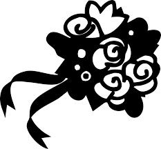 ポップでかわいい花のイラストフリー素材no1163白黒花束リボン