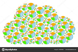 Cloud Collage Of Pie Chart Icons Stock Vector Ahasoft