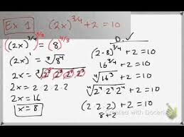 solving rational exponents and radical