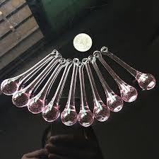 10pc pink glass chandelier crystal icicles prism 80mm drop pendant suncatcher