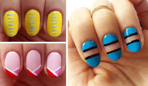 Nail Designs With Stripers Easy Beginner Nail Art 3 Line Designs Using Nail Striper