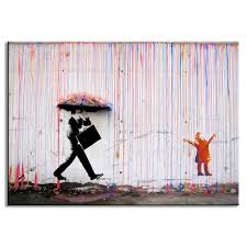 Modern Painting For Living Room 2017 Banksy Art Life Colorful Rain Living Room Abstract Figure Oil