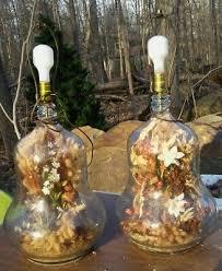 crisa 5 gallon blue glass bottle lamp terrarium carboy gourd shape mid century