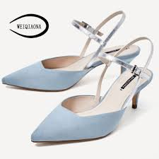 Light Blue Womens Heels Us 25 08 6 Off Weiqiaona 2019 New Sky Blue Women Shoes Low Heels Pumps Fashion Sandals Buckle Strap Ladies Shoes Party Shoes Brand Design In Womens