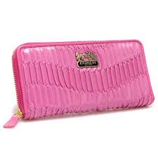 Coach Accordion Zip In Gathered Twist Large Pink Wallets CCH
